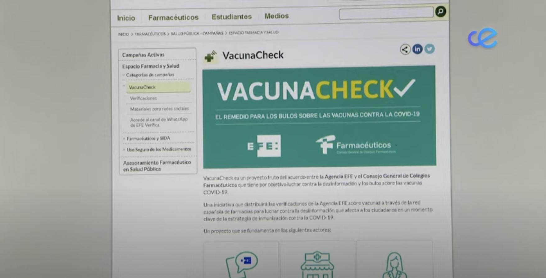 Participación en RTVCE para hablar sobre la plataforma VacunaCheck